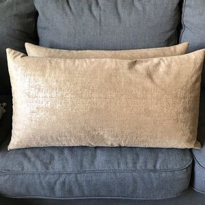 Other - TWO Rectangle Feather Pillows Gold/Tan Perfect
